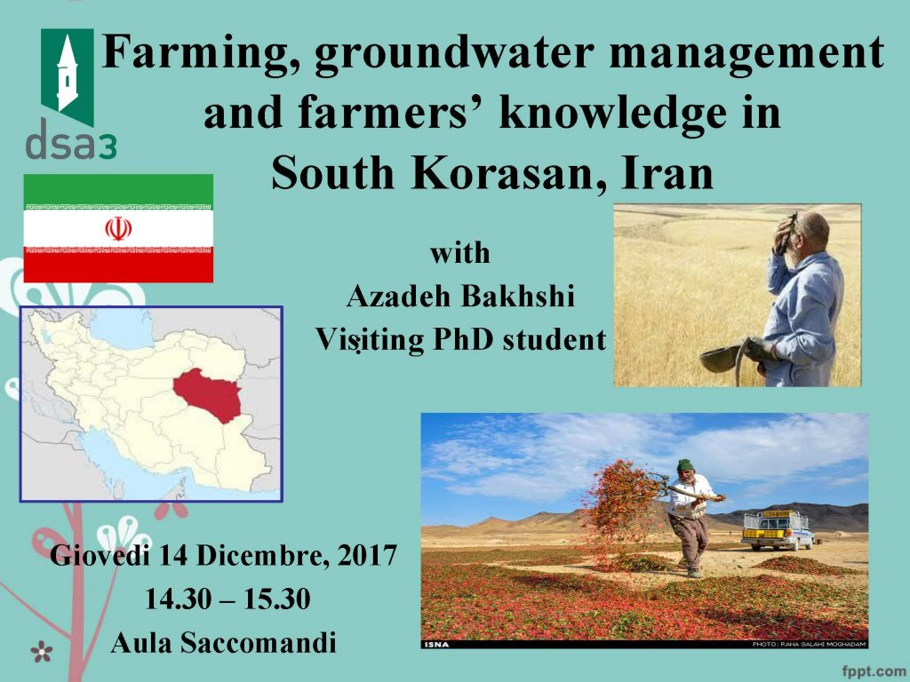 Seminario – Farming, groundwater management and farmers' knowledge in South Korasan, Iran